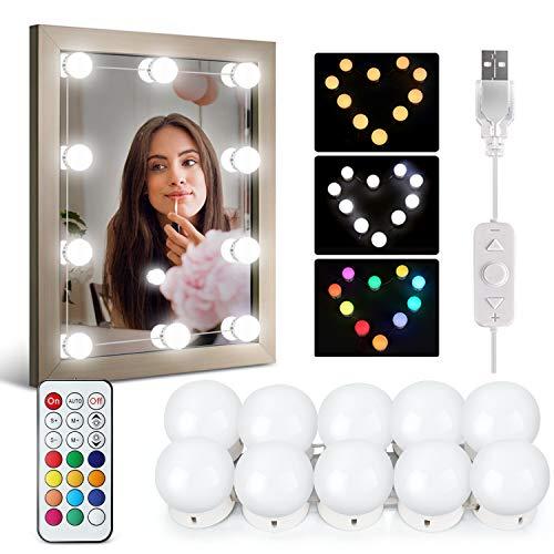 IDESION 10 LED-Lampen für Spiegel einstellbares Licht Make-up-Lampe mit 12 Farben und 36 Modi Kosmetik verbunden Schminktischbeleuchtung (mit Anschluss USB-Kabel und Fernbedienung)