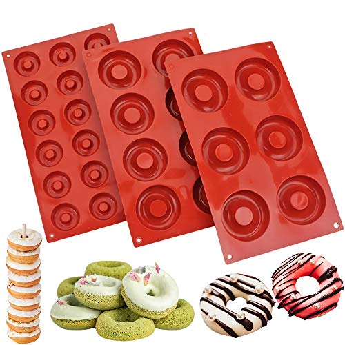 BAKER DEPOT 3 Pack Silicone Donut Baking Pan Non-stick Large Molds for Doughnut Cake Biscuit Bagel Mini Candy Chocolate Tray (3 Different Size)