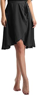 Oyolan Womens Sheer Chiffon Asymmetric Over Scarf Wrap Skirt Ballet Dance Skater Skirts Dancewear