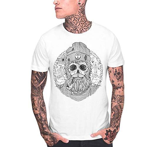 VIENTO Sailing Ghost Camiseta para Hombre (Blanco, Large)