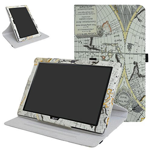 Mama Mouth Acer Iconia One 10 B3-A40 Rotating Custodia, Rotante a 360° Custodia in PU di Cuoio Pelle Caso Case per 10.1' Acer Iconia One 10 B3-A40 Android Tablet,Map