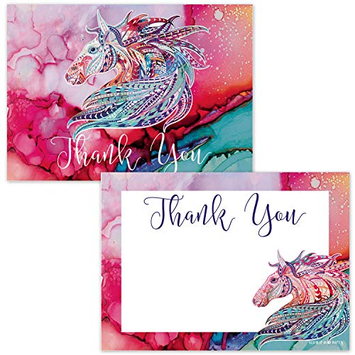 Pretty Horse Thank You Cards for Girls (20 Count with Envelopes) - Flat Non-Folding Postcard Style - Equestrian Pink Pony Animal Blank Thank You Notecards for Kids - Watercolor Design