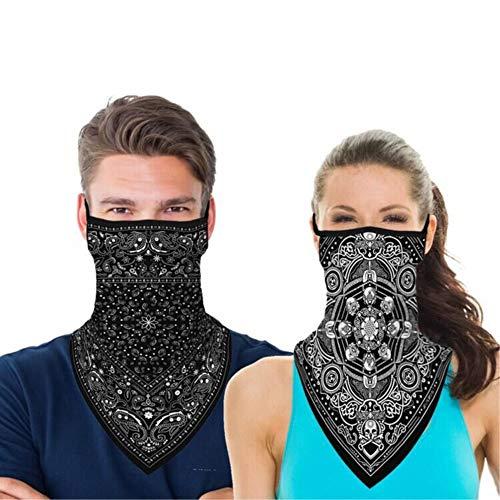 YSense 2 Stück Bandana Face Shield Halstuch Schlauch Multifunktionstuch Schal Gesichtsmaske Balaclava Motorrad, Schlauchschal für Damen Herren Laufen Wandern Radfahren Motorradfahren