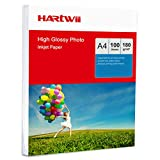 Hartwii 100 Sheets A4 High Glossy Super White Photo Paper Inkjet Paper Printing - 180Gsm x 100 Sheets