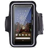 Jogging Tasche kompatibel für Google Pixel 3a Handy Hülle Sport Lauf Armband Fitnesstasche Schutzhülle Schwarz