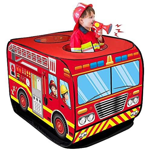 D-FantiX Fire Truck Tents for Kids, Outdoor Indoor Foldable Fire Trucks Pop Up Play Tent Pretend...
