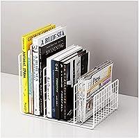 金属ワイヤーデスクトップ本棚ファイルのソーターデスクオーガナイザーマガジンホルダー紙収納ラックブックスタンドの装飾ホームオフィス 文具収納 (Colorname : Black, サイズ : A) B white