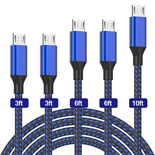 PLmuzsz Micro USB Cable,5Pack (3/3/6/6/10FT) Nylon Braided Fast Charging Cable Aluminum Housing USB Charger Android Cable for Samsung Galaxy S7 Edge S6 S5,Android Phone,LG G4,HTC and More-Black&Blue