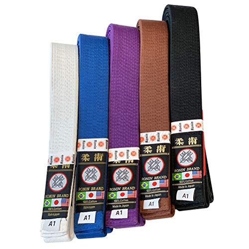 Japanese Made Ronin Deluxe Super Brazilian Jiu-Jitsu Belt (White, A3)