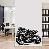 Pegatina de pared de motocicleta de gran tamaño, pegatina de ventana para sala de estar de oficina, carrera de motos, decoración del hogar, decoración de dormitorio para adolescentes, A6 28 × 37 CM