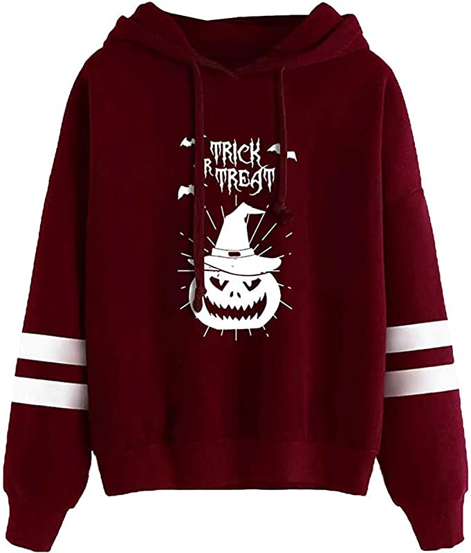 BeautyVan Women Long Sleeve Plus Size Halloween Witch Print Hoodie Sweatshirt Blouse Tops