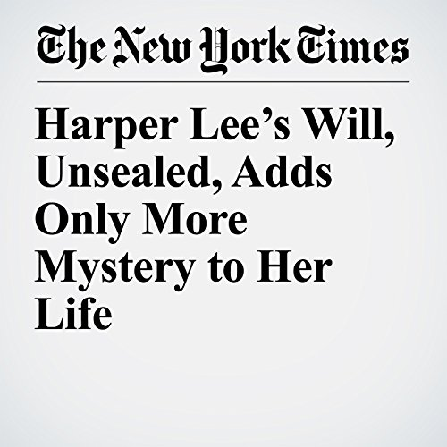 Harper Lee's Will, Unsealed, Adds Only More Mystery to Her Life copertina