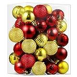 CACOE Juego de Bolas de Navidad 50 Unidades Rojo y Dorado Mixto - Bolas de Navidad Decoración para el Árbol de Navidad Bolas Decorativas Brillantes para Colgar en la Puerta Decoración Navidad Fiesta