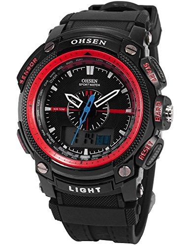 OHSEN Sportuhren LCD Dual Core Herren Damen Sport Datum Tag Rot Stoppuhr Schwarz Gummi Armbanduhr