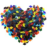 Hilitchi 1Lb Transparent Rhombus Shape Glass Mosaic Tiles for Crafts Colorful Stained Glass Pieces Mosaic Projects Supply
