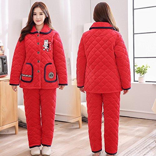 YI Hiver Pyjamas Dame Coton Plus ÉPais Plus la Taille Plus Long Costume de Pyjama Femme de Bande Dessinã©e à Domicile,B,XXL