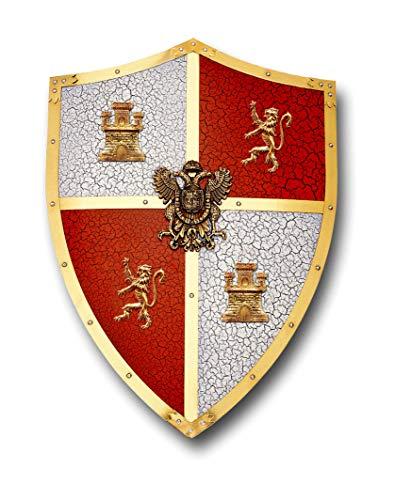 Escudo El CID craquelado. Réplica en Metal del Escudo Que usaba El CID, con el Escudo de Castilla y León.