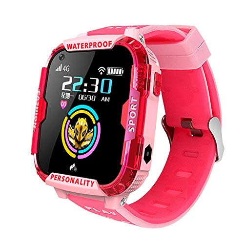 JASZW Kinder wasserdichte intelligente Uhr GPS-WiFi LBS Location Tracker SOS intelligente Überwachung Positionierung 1.4 Zoll Display-HD 4G Videoanruf,Rosa