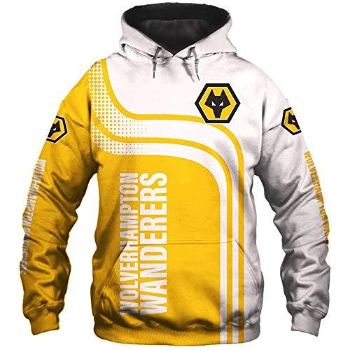 LIULL Sudadera con Capucha De Los Deportes Wolverhampton 3D Digital Béisbol Camiseta De Impresión Adolescentes Uniforme Chaleco A-S
