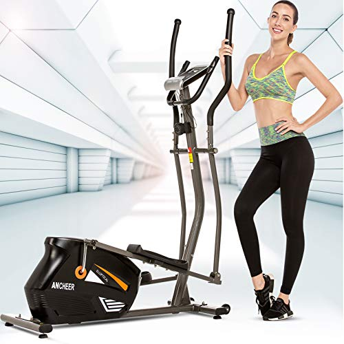 ANCHEER Elliptical Machine, Quiet & Smooth Magnetic Elliptical Cross Trainer Machine with LCD Monitor and Pulse Rate Grips, Best Elliptical Exercise Machine Trainer for Home Gym Workout (Gray)