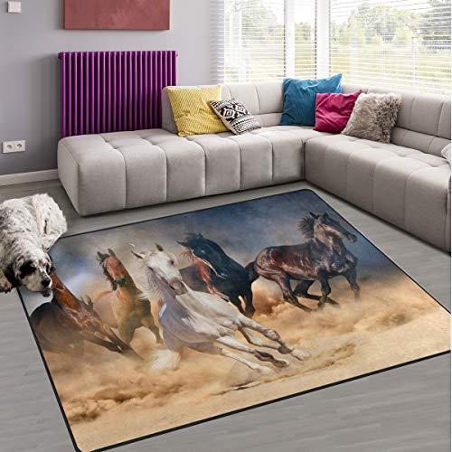 naanle Pferde im Sand, rutschfest, Teppich für Wohnzimmer, Schlafzimmer, Küche, 50x 80cm (2x 2,6m, mit Tier-/Teppich, Yoga-Matte, multi, 150 x 200 cm(5' x 7')