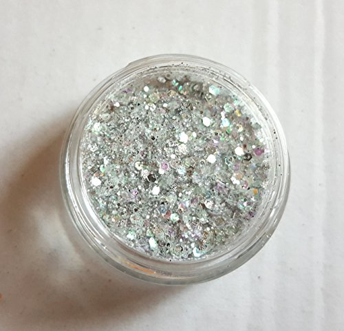 New Nail Art Glitzer Mix Silber/Weiss Multi Color Glitzerpulver Glitter Pailletten Puder Staub...
