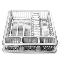 Abtropfgestell für Geschirr In Weiß oder Grau erhältlich Stabile Ausführung Material: Kunststoff Maße des Abtropfgitters: Höhe ca. 8 cm, Breite ca. 46 cm, Tiefe ca. 37 cm