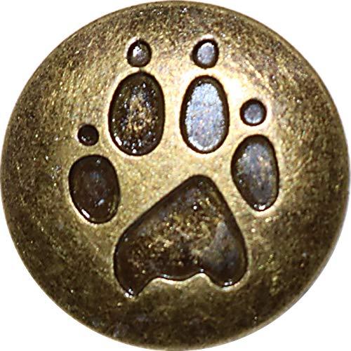 3world バネ ホック ボタン 15mm かわいい 肉球柄 スナップボタン レザークラフト DIY 手芸用パーツ SW51ゴールド(10個)セット