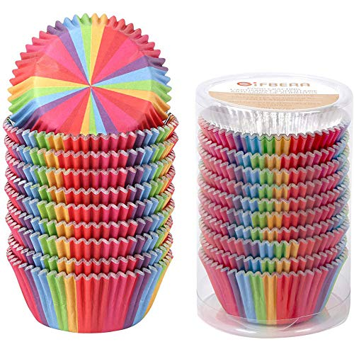 Gifbera Rainbow Bright Foil Lined Cupcake Liners Standard Muffin Wrappers Baking Cups, 200-Count