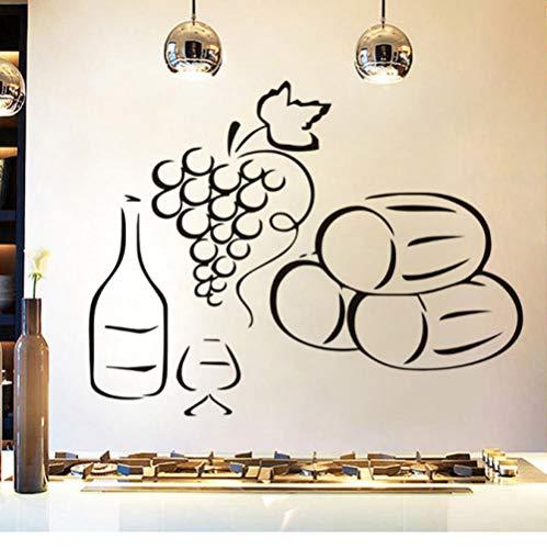 NKJBUVT Des Raisins Une Bouteille De Vin Stickers Muraux Cuisine Decal Accessoires Simple Design Motif Décoration Home Decor 57 * 44Cm