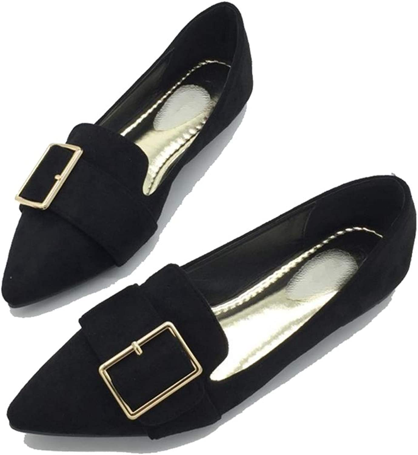 Kyle Walsh Pa Women Flats shoes Pointed Toe Metal Buckle Female Soft Work Driving Footwear