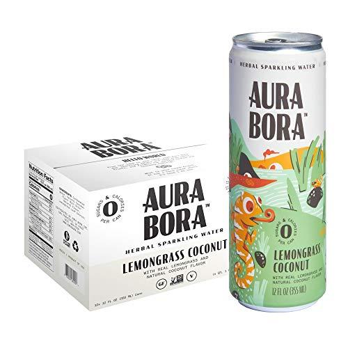 Aura Bora Herbal Sparkling Water Lemongrass Coconut, 12 oz Can (Pack of 12)
