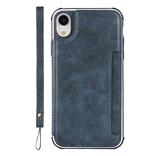 GIMTON iPhone XR Hülle, Brieftasche Rückenschale mit Handschlaufe und Standfunktion, Stoßfest Kratzfestes PU Schutzhülle für iPhone XR, Blau