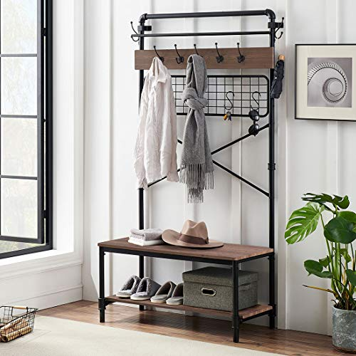 O&K FURNITURE Industrial Coat Rack Shoe Bench 5 in 1 Entryway Hall Tree with Shoe Storage and Shelf Entryway Bench with Coat Rack and Hanging Bar Rustic Brown Finish