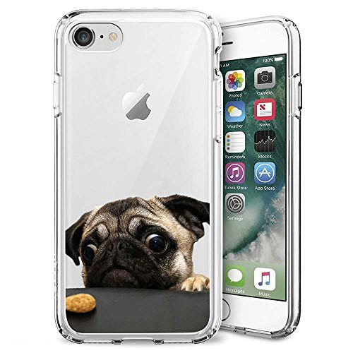 GOADK iPhone 7/8/se 2020 Case All-Inclusive Camera Shatter-Resistant Uv Transparent Ultra-Thin Phone Case (Pug Dog)