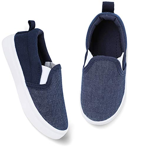 okilol Toddler Slip On Walking Shoes Boys Casual Canvas Sneakers Kids Shoes Navy/White 7 M US Toddler