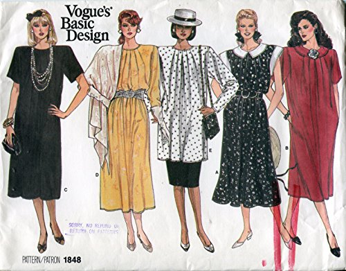 Vogue's Basic Design Pattern 1848 Misses' Dress, Tunic and Skirt, Size 14-16-18