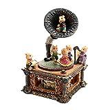 女の子のためのオルゴールクラシックレトロクリスマスマウス子供ギフト家の装飾装飾品ホーン蓄音機コーヒーバー置物キヤノン