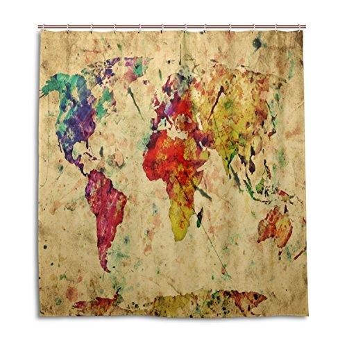 MyDaily Bunte Weltkarte Vintage Duschvorhang, 182,9 x 182,9 cm, schimmelresistent und wasserdichte Polyester-Dekoration Badezimmer Vorhang