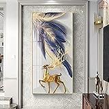 Carteles e impresiones abstractos modernos de ciervos azules y dorados, pinturas en lienzo, cuadros artísticos de pared para la decoración de la sala de estar 60x120 CM (sin marco)