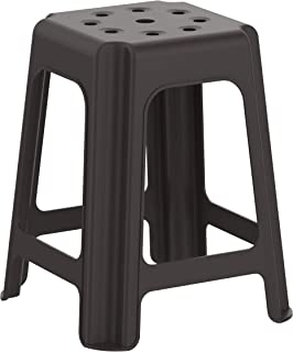 Cosmoplast 6291048118084 Plastic High Stool Square for Indoors and Outdoors, Dark Brown