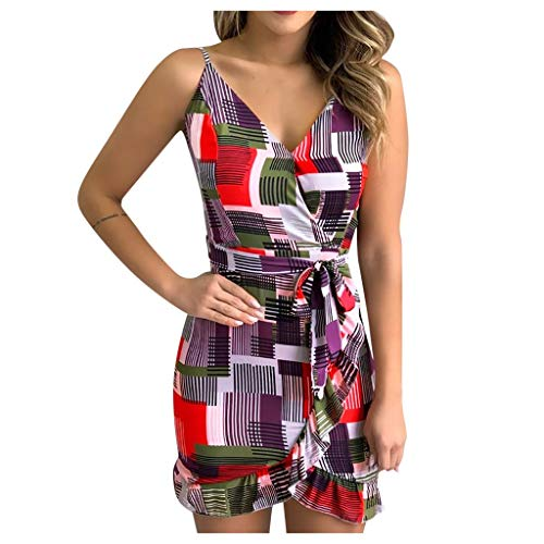 Best Review Of kaifongfu Women Mini Bodycon Dress Summer Sleeveless Printed Elastic Waist Sexy Mini ...