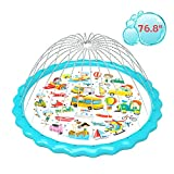gebra Splash Pad,2021 Upgraded 76.8' Sprinkler Mat Inflatable Outdoor Car Plane Ship Travel Design Swimming Pool Garden Fun Water Play Mat Toys for Baby Children Toddler Adults Pets Activities
