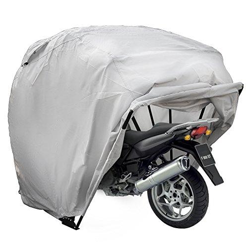 Mophorn Motorradabdeckung Shelter Storage Wasserdicht Größe L Motorrad Abstellzelt Oxford 600D Motorrad Shelter Shed Fit Die meisten Motorräder (Silber Farbe Größe L)
