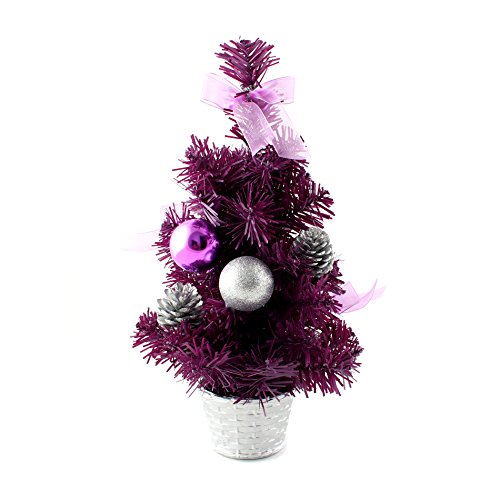 IDS Home 12inch Mini Desk Top Table Top Decorated Christmas Tree with Bows & Baubles Ornaments Decorations, Purple