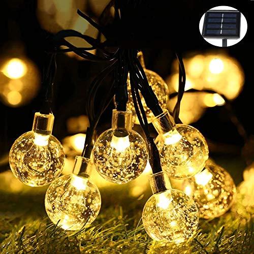 Guirnaldas Luces Exterior Solar, 50 LED Cadena de Bola Cristal Luz 7 M Impermeable, 8 Modos Cadena de Luces Decoración, Exterior, Interior, Jardín, Patio, Boda, Fiesta, Navidad (Energía Solar)