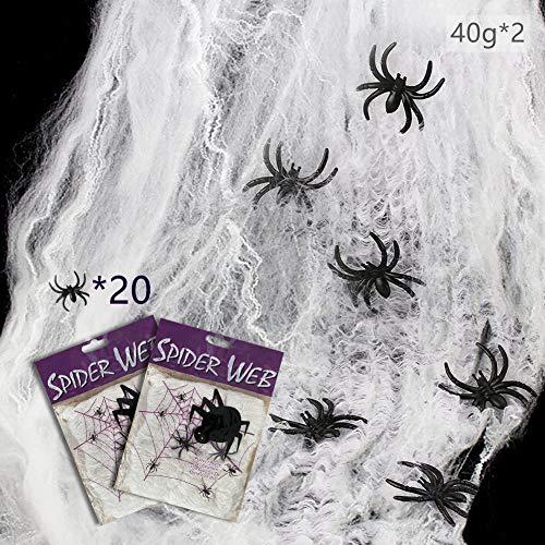 Maxee Spinnennetz 2 Pcs(80G Weiß Baumwolle 20 Spinnen) Halloween Spinnennetz Spinnennetz Deko Halloween Dekoration Satz for Halloween Party
