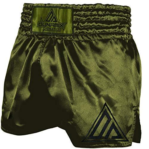 Dynamix Athletics Muay Thai Shorts Origin Khaki/Schwarz - Traditionelle Klassische Thaibox Hose für Herren (XL)