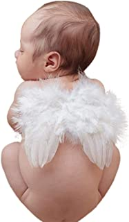 Infant Angel Wing Baby Angel Feather Wings Newborn Photography Photo Props Soft Comfortable Breathable Baby Christmas Costume Accessory 0-6 Months White BLUETOP