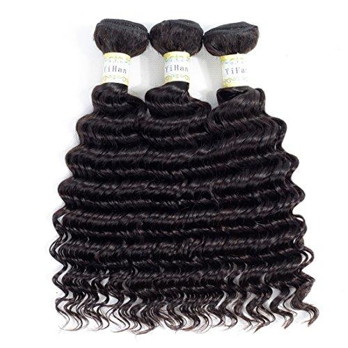 YiHan 8A 3 Bundles Deals Brazilian Deep Wave Virgin Human Hair Bundles Weave 100% Unprocessed Wet and Wavy Human Hair Extensions Remy Brazilian Hair Deep Curly Natural Black Color 14 16 18 inches
